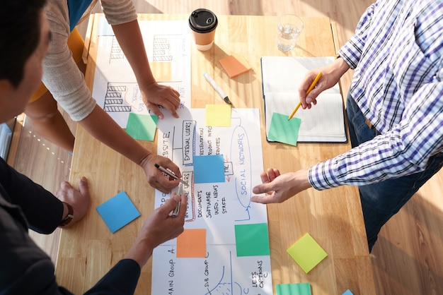 큰 프로젝트에 대해 논의하고 다채로운 스티커 메모에 주요 생각과 아이디어를 쓰는 사업가 그룹