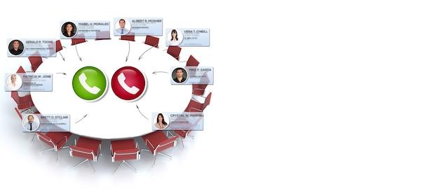 コピースペースのある円卓会議で仮想会議を行うビジネスマンのグループ
