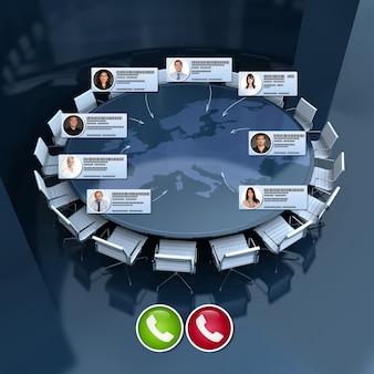 国際的な仮想会議を持っているビジネスマンのグループ