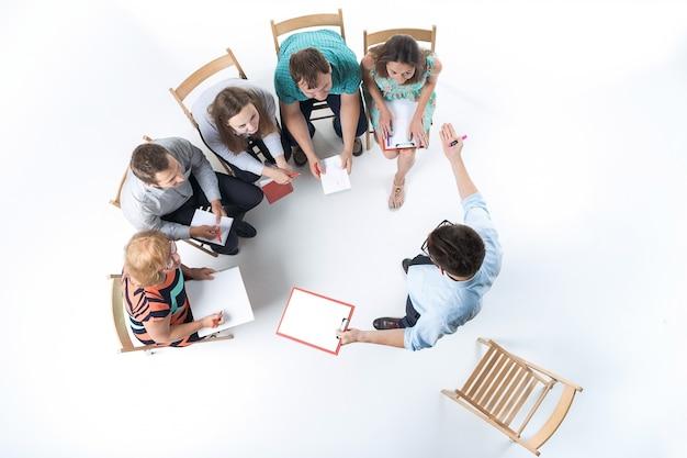 회의에서 사업 사람들의 그룹