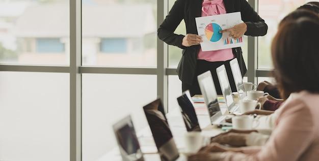사무실에서 함께 만나는 여성 사업가 그룹, 그래프와 차트를 들고 있는 리더 또는 관리자, 청중에게 세부 사항과 의미를 설명하는 동안 동료들은 그녀의 말을 듣고 이해를 표현합니다.