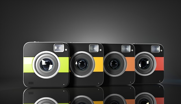 カラフルな四角いカメラのグループ