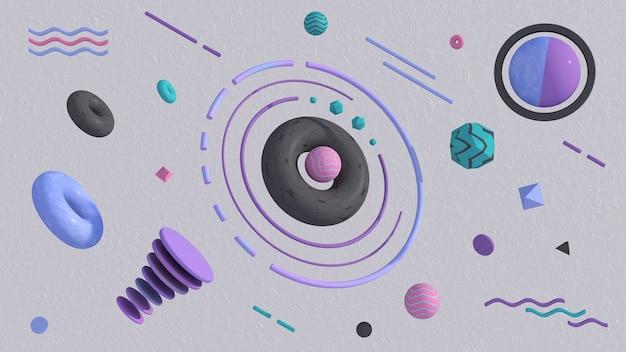 カラフルなテクスチャ形状のグループ。抽象的なイラスト、3dレンダリング。