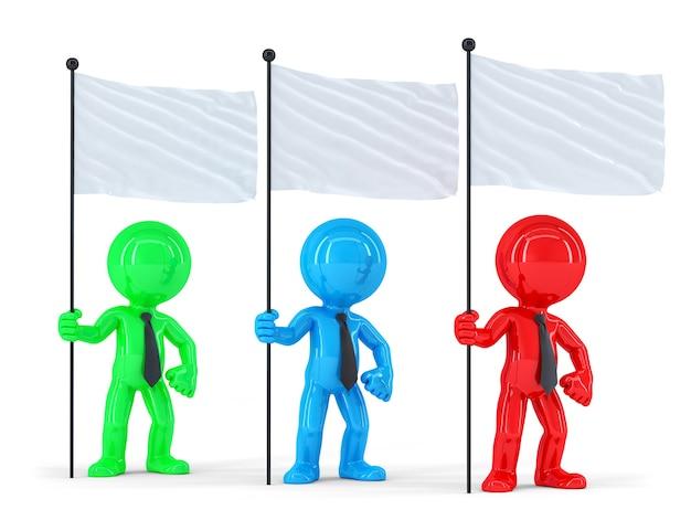 Группа цветных бизнесменов с флагами. изолированный. содержит обтравочный контур