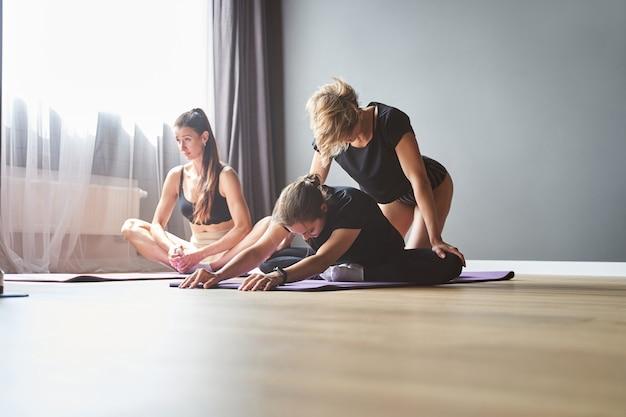 グループフィットネスクラス中に紫色のジムマットで運動する集中したスポーティーな若いフィット女性のグループ
