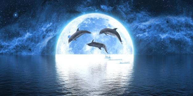 大きな月を背景に水から飛び出すイルカのグループ、3dイラスト