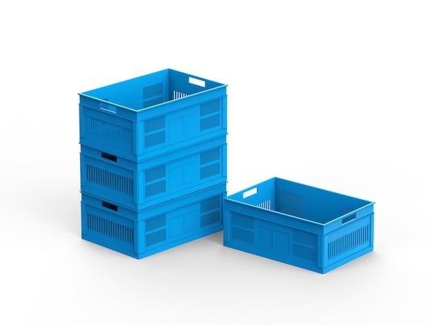 空の青いプラスチックの木枠のグループ