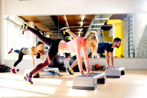 체육관에서 스테퍼와 함께 운동하는 유연한 사람들의 그룹입니다.