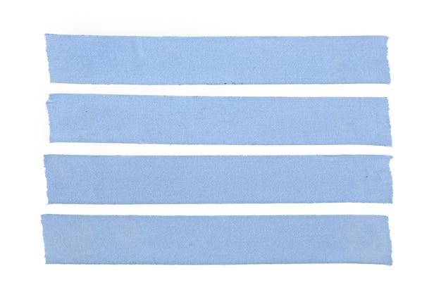 4 개의 파란색 빈 천 테이프 흰색 배경에 고립의 그룹입니다. 모의 템플릿 프리미엄 사진