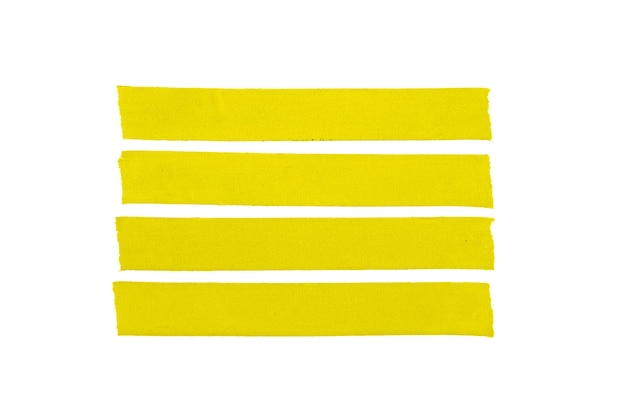 4 개의 노란색 빈 천 테이프 흰색 배경에 고립의 그룹입니다. 모의 템플릿