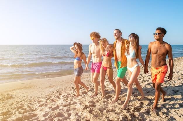 夏のビーチのコンセプトを楽しんでいる友人のグループ