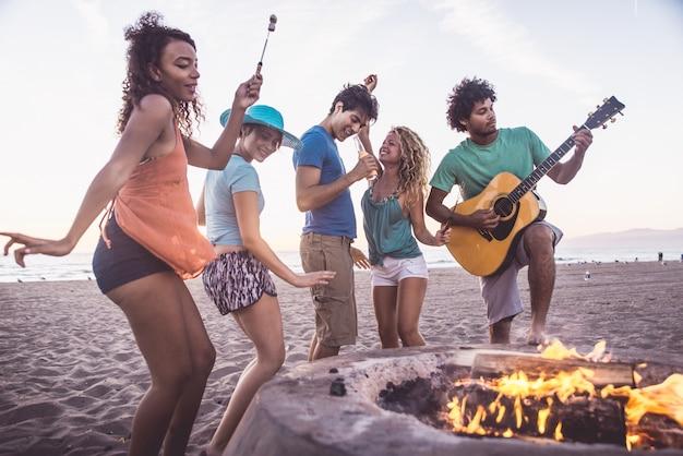 Boneき火を作るビーチで楽しんでいる友人のグループ