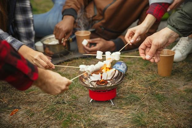 秋の日のキャンプやハイキング旅行の友人のグループ。森の中で休憩を持っている観光バックパックを持つ男性と女性