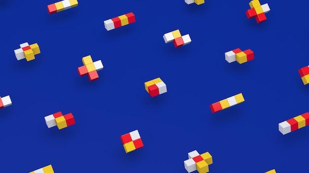 幾何学的形状のグループ、カラフルな立方体。青い背景。抽象的なイラスト、3dレンダリング。
