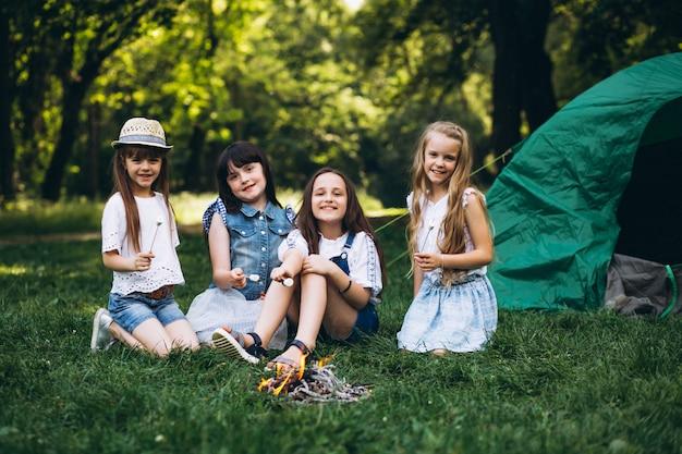 Группа девушек-туристов из палатки в лесу Бесплатные Фотографии