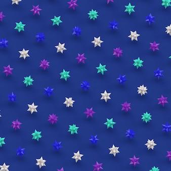光沢のある星のグループ。青い背景。抽象的なイラスト、3dレンダリング。