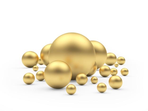 Группа золотых сфер различных размеров