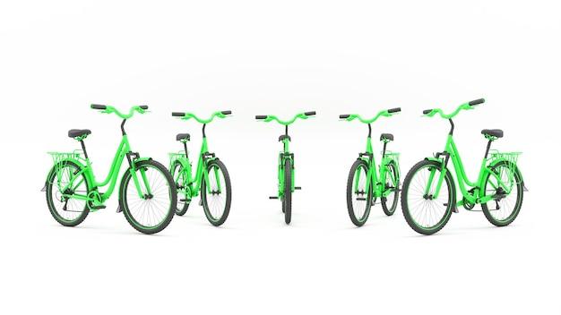 Группа зеленых велосипедов, стоящих в полукруге, 3d иллюстрация