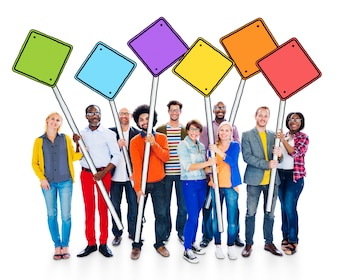 Group of Happy Multi-Ethnic People Holding Sign Poles Concept
