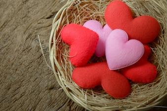 Group of heart shape in basket