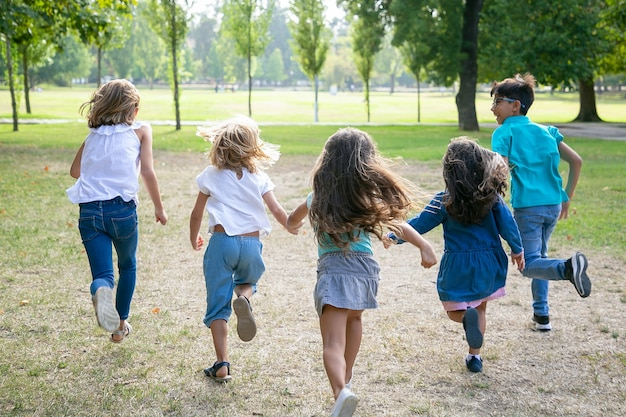 一緒に芝生の上を走り、公園でレースをしている子供たちのグループ。背面図、全長。子供の野外活動の概念