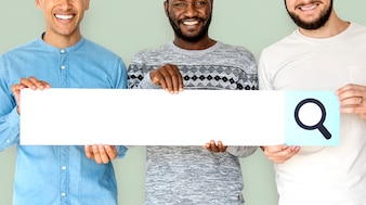 Group of men smiling and hodling search blank banner