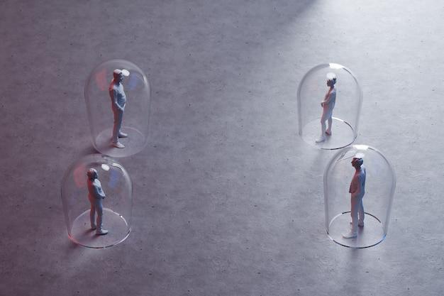 그들 사이의 거리와 미니어처 사람들의 그룹, 인형 사이의 바닥에 그려진 화살표 3d 렌더링