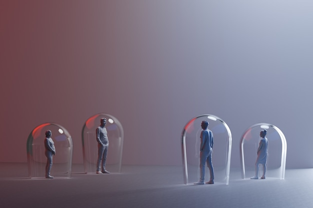 距離のあるミニチュアの人々のグループ、置物の間の床に描かれた矢印3dレンダリング