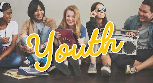Группа современных молодых людей