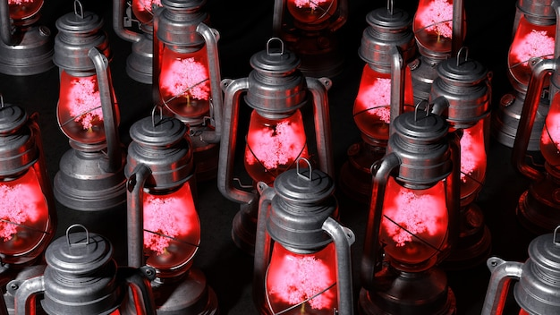 Группа старых керосиновых ламп с деревьями, светящимися внутри них на черном фоне, 3d иллюстрация
