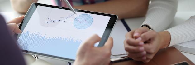 デジタルタブレットのクローズアップでグラフを議論する人々のグループ