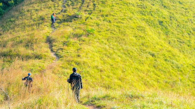 Группа людей, походы в зеленое стекло ландшафта высокой горы холма в возвышении