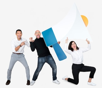 Group of people holding a megaphone icon
