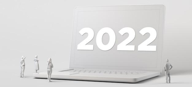 2022년 새해가 있는 거대한 노트북을 보고 있는 사람들의 그룹입니다. 3d 그림입니다.