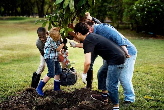 사람들의 그룹은 야외에서 함께 나무를 심습니다