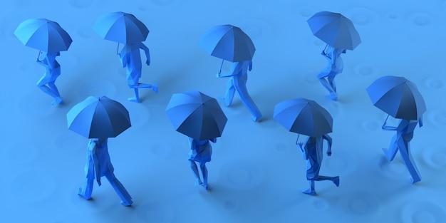 Группа людей, бегущих под дождем с зонтиком. 3d иллюстрации.