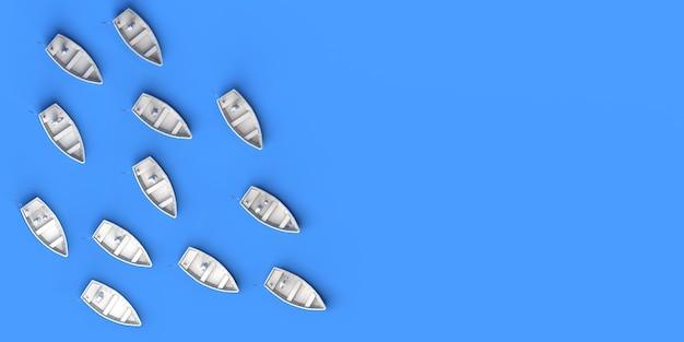 小さなボートで海を航海する人々のグループ。移民の概念。 3dイラスト。スペースをコピーします。