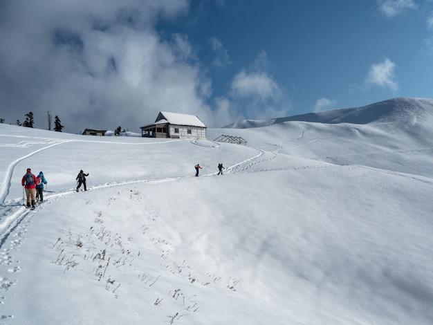 알파인 스키 또는 산에서 스플릿 보드를 걷는 사람들의 그룹 스키 투어링