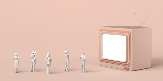 거대한 텔레비전을 보고 있는 사람들의 그룹입니다. 매스 미디어. 3d 그림입니다. 공간을 복사합니다.