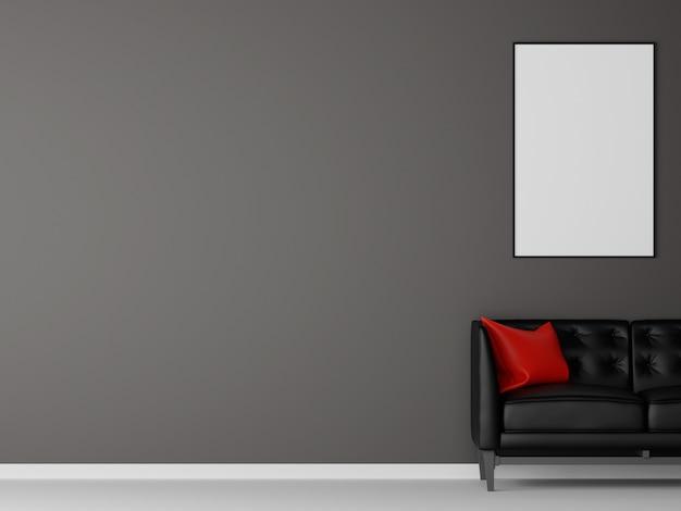 거실의 검은 소파와 모의 액자의 그룹입니다. 3d 렌더링.