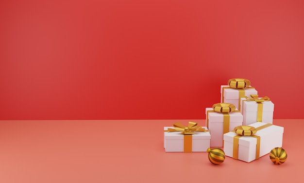 Группа реалистичных подарков с золотыми лентами для празднования дня рождения или рождества в красном