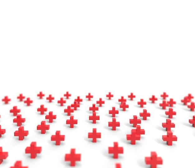 赤十字アイコンの背景のグループ。 3dレンダリング。