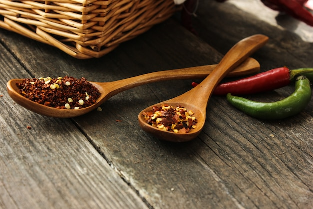 ブラックプレート上面に赤のホットチリパウダーのグループビュー食材テーブルタイのスパイシーなアジア料理/木のスプーンスパイスと乾燥唐辛子の背景にカイエンペッパー