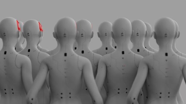 人工知能とロボット工学のコンセプトが並んでいる女性のイメージのロボットのグループ