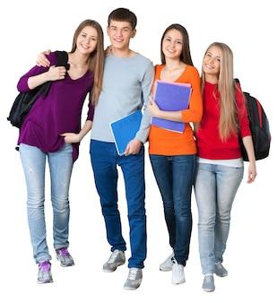 Группа студентов, изолированные на белом фоне