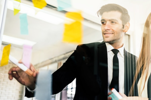 成功したビジネスチームワークのグループガラスの壁に粘着性のある紙のメモとのブレインストーミング会議
