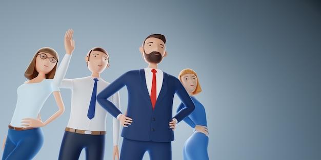 エリート ビジネス チームのグループ。ビジネス コンセプトの成功。 3 d イラストレーション