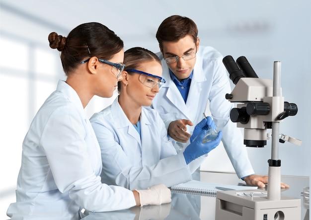 실험실에서 일하는 과학자 그룹