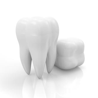 Группа зуба на белом светоотражающем фоне