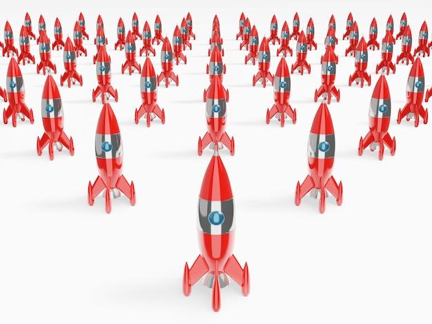 おもちゃの宇宙船、ロケットのグループ。 3dレンダリング